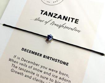 Tanzanite Bracelet/ December Birthstone Bracelet/ Layering Bracelet/ Birthday Birthstone Gift