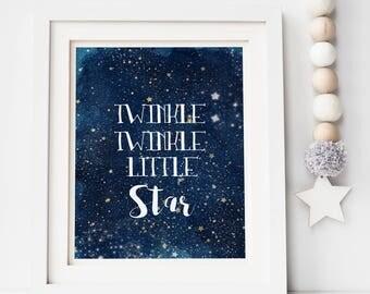 Twinkle Twinkle Little Star Print - Night Sky Print