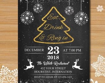Christmas party invitation, Xmas party, Christmas tree invitation, Rustic winter invitation, Wood and snow christmas invitation