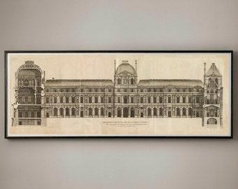 CIRCA 1756 ELEVATION of the LOUVRE, Louvre France, Louvre Blueprints, Louvre Architecture, Louvre Renderings, Paris Decor, Blueprint, Paris