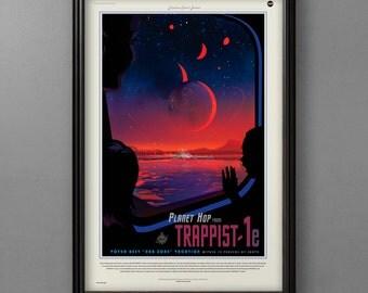NASA Travel Poster, Trappist 1E JPL Exoplanet Art , Space Travel, Space Print, Solar System Art, Space Art, Universe Print, Planetary Art