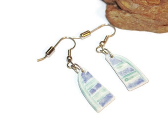 Vintage Ceramic Earrings, Sailboat Earrings in Blue Green and White, Summer Earrings, Summer Jewelry, Summer Fashion, Nautical Jewelry