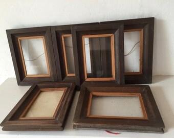 Set of 6 old wooden frames