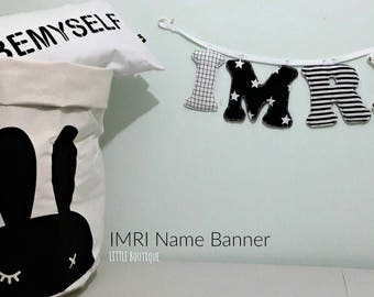 name banner,Nursery wall letters, boy nursery letters, Wall hanging fabric letters, boy nursery decor, baby shower gift, black and white