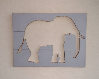 Baby Nursery Decor Wood Elephant Silhouette