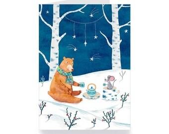 greeting card bears and mice take tea