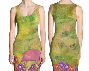 Ladies pig and daisy field all over print dress