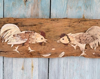 Rooster wall art, Rooster wall decor, Rooster decor, Rooster kitchen decor, Rooster art, Bark art, Bark decor,  Nature decor, Rustic decor