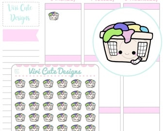 Kawaii Laundry Stickers, Laundry Sticker, Hand drawn Stickers, Chores Stickers, Kawaii stickers, Kawaii Planner Stickers | 055