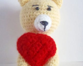 The amigurumi Bear with heart | Handmade gift for love | Sweet present for lover | Handwork gift for Mother Day | Gift for anniversary