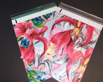 100 10x13 PINK and RED Tropical Flowers Assortment Designer Poly Mailers Envelopes Shipping Bags 50 Each Spring