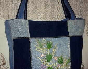 Bag Tote in jeans, doubled with inside pocket