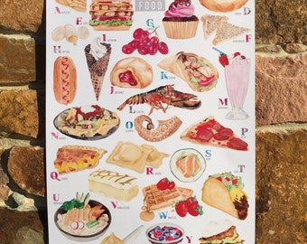 Food Illustration A-Z Illustrated Food Watercolour Print - A4