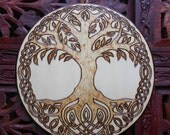 "6.5"" Tree Of Life Wall Hanging - Pyrography Art, Spiritual Wall Art, Bohemian Wall Art, Mandala Wall Art"