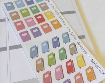 AJ6D202X,  Bargain Corner Rainbow Dairies, Planner Stickers