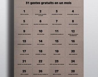 31 free gestures - displays A3 (29.7 x 42 cm)