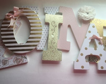 Pink and gold girls nursery letters, blush and gold nursery letters, gold nursery letters, baby girl nursery letters, Ivory Rose Studio