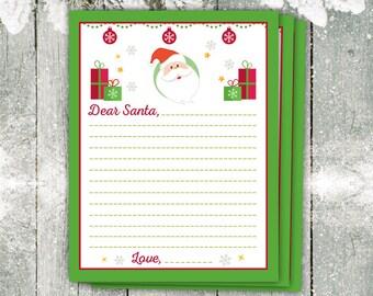 Dear Santa Letter, Christmas List, Christmas Paper, Christmas Wish List, Christmas Printable, Cute Santa Letter, Holiday Organize, List