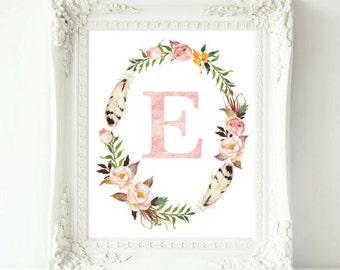 Personalized Nursery Art, Baby Gift, Nursery Initial, Nursery Wall Art, Floral Nursery Monogram, Floral Wreath Letter, Baby Monogram