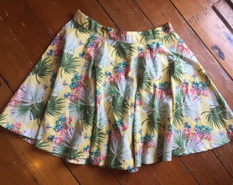 """Yellow Hawaiian / Safari Circle Skirt - 30"""" waist - SAMPLE"""