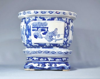 "Vintage Fine Chinese Qing Blue White Four Side Porcelain Flower Pot ""YONGZHENG"" Mark DSC_0017"