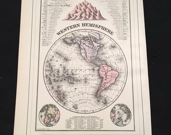 1894 Map of the Western Hemisphere, Showing its Principal Mountains & Rivers, Original Hand-Colored Antique Map