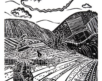 CLEARANCE: Scarecrow (Original Linocut Print)