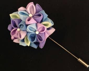Hydrangea Lapel Pin (Traditional Japanese Tsumami Kanzashi Style )