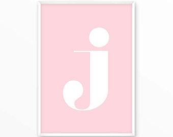 Letter j Print, J Initials Poster, scandinavian design, monogram, printable, Typography, Poster, Inspirational Home Decor, wall art, gift