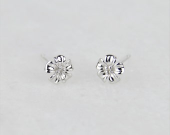 Little Flower Blossom Stud Earrings 925 Sterling Silver - Floral, Dainty, Subtle, Delicate, Minimal, 925 Sterling Silver