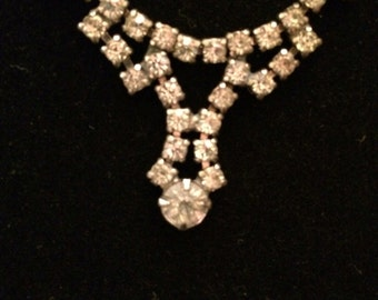 Vintage Art Deco Rhinestone Choker Necklace