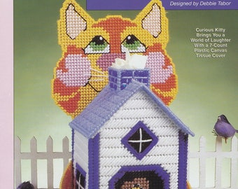 Curious Kitty, Cat Tissue Box Cover Plastic Canvas Pattern Leaflet The Needlecraft Shop 983006