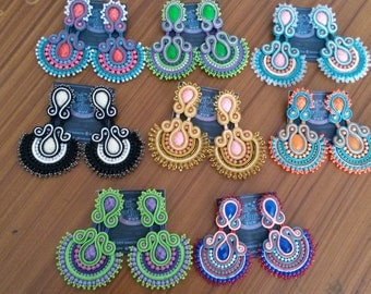8 pairs of large earrings with beads
