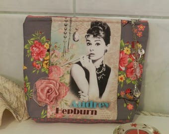 Cosmetic bag, Make Up bag, Audrey Hepburn fabric cosmetic bag,