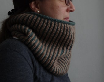 SPECIAL PRICE Suzette wool knitted brioche reversible cowl / winter accesory, warm, soft