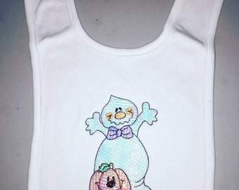 Baby Bib - Surprise Ghost and Pumpkin