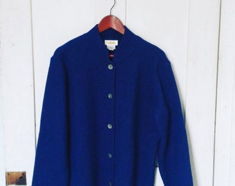 Royal Blue Talbots Wool Coat/ Large Blue Wool Coat/ Talbots Wool Coat Large