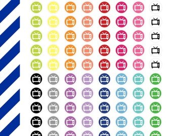 TV Circle Icons, Premium Matte Vinyl, Planner Stickers, Removable, Repositionable, Reusable, For ECLP & Other Planners, Vinyl Sticker