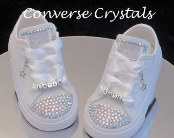 Personalised Baby / Toddler Mono White Custom Crystal *Bling* Toes Tongue And Name Converse Infant sizes 2-10
