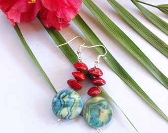 Handmade Red Sandalwood Seed Earrings with Green Shell Discs