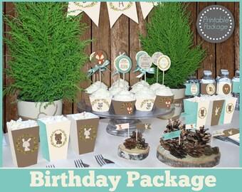 Boy woodland Birthday party MEGA SET printable, woodland decorations, fox birthday, animal birthday party.