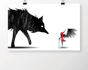 Little Red and the Wolf Demon Art Print