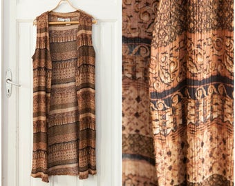 90s Striped Long Blazer Maxi Vest Womens Oversize Open Front Vest Brown Sand Multi Pattern Sleeveless Rayon Top Crimped Summer Layer Top L