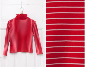 90s Striped Turtleneck Top Womens Small Jersey Polo Neck Red White Stripy Roll Neck Long Sleeve High Neck Pullover Vertical Stripes Top S