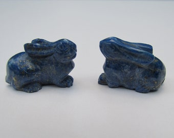 Pair of Lapis Rabbits