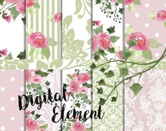 Digital Paper, Pink Floral Paper, Scrapbook Paper, Watercolor Pink Peony Paper, Watercolor Floral Paper. No. P190