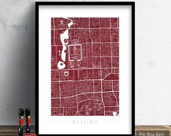 Beijing Map - City Street Map of Beijing China - Art Print Watercolor Illustration Wall Art Home Decor Gift - Colour Series PRINT