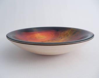 Decorative Wooden Bowl Maple Sunburst Pattern Glossy  Hand Turned