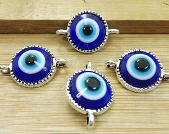 20 pcs  Evil Eye Connectors  ,  Evil Eye  Jewelry , Turkish Eye ,  Eye Connectors , Evil Eye , Findings, Wholesale Findings