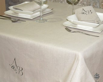 Luxury Wedding & Weddings Anniversary Silver Personalized Monogram Linen Tablecloth